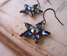 Dark Star earrings with vintage swarovski by shadowjewels on Etsy, $25.00