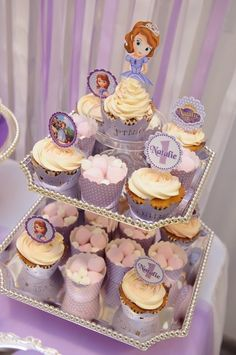 Lovely cupcakes at a Sofia the First Birthday Party!  See more party ideas at CatchMyParty.com!