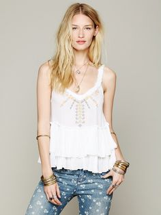 Free People Embroidered Peplum Tank at Free People Clothing Boutique
