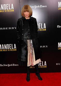 Anna Wintour wearing Burberry Prorsum at the Mandela: Long Walk To Freedom New York screening