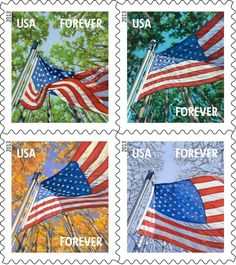 Here's your first look at A Flag for All Seasons, a set of four Forever® stamps that show Old Glory waving proudly throughout the year against a backdrop of trees.