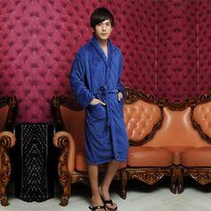 Discount China china wholesale Thickened Mens Coral Fleece Sash Pocket Long Sleeve Long Sleepwear Nightgown Simple Bathwear [31770] - US$24.99 : DealsChic