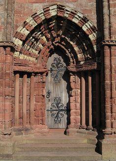 Sandstone Doorway, St. Magnus Cathedral, Kirkwall, Orkney, Scotland Some fantastically ornate black iron hinges