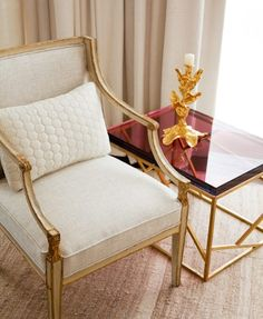 Luxe gold & cream chair