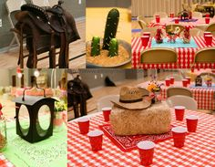 tin can center pieces for a cowboy themed party | One of the leaders even brought a real saddle for display! The cactus ...