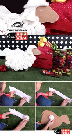 Sheep for decoration from cotton and corrugated paper