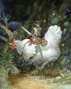 Omar Rayyan  Night had fallen and the forest had come alive. Fear crept in, and for the first time he and his chicken felt afraid. :-) Fantasy, Artists, Omar Rayyan, Magic Faraway, Fairy Tales, Minis Hot Dogs, Chicken Print, Book Illustration, Fairies Tales