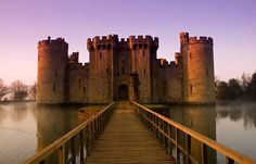 Bodiam Castle, near Robertsbridge, England, originally had many water features for defense but only the imposing moat survives to this day.