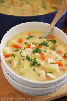 Cheesy Chicken and Potato Chowder Recipe ~ Says:  Hearty and full of homemade goodness, this soup was absolutely perfect for a gloomy day and smelled amazing as it bubbled on the stovetop. Every creamy, cheesy spoonful was like getting a big grandma hug from the inside… and you know that's gotta be good!