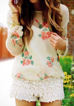 Description: Roses + lace. Absolutley adorable shirt!!! Occasion: Anywhere! Age range: Teen  Accesories: Cute fedora, bohemian headband (ink included below), Bangles. ...............................................................  https://www.google.com/search?q=bohemian+headband&espv=210&es_sm=122&tbm=isch&tbo=u&source=univ&sa=X&ei=_bofU7bkCqONygHT64Bo&ved=0CCkQsAQ&biw=1920&bih=950#facrc=_&imgdii=_&imgrc=E_8TF_hqQH