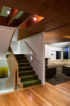 Wonderful Contemporary House with the Best Interior: Cozy Green Velvet Stairs House Overlooking Botanical Gardens Interior