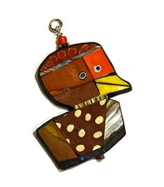 "Cynthia Toops: , Polymer clay ornament/pendant.  Double-sided. Approx 1 3/4"" x 2 1/3""."