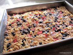 Baked quinoa and oatmeal with fruit
