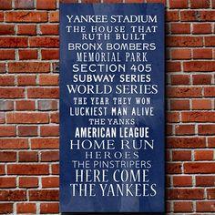 Yankee Bus Roll Baseball Wall Art Home decor sports #Geezees #sports #Yankees #baseball