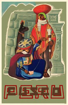 Cusco Peru vintage travel poster