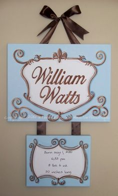 Custom canvas letter name sign wall art baby hospital door boy elegant scroll crest blue brown birth announcement painting. $65.00, via Etsy.