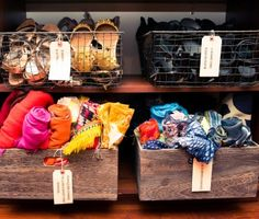 wooden bins for scarf organization - Jessica Alba | The Coveteur
