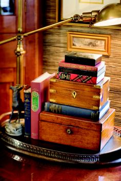 Boxes and books on a tray...