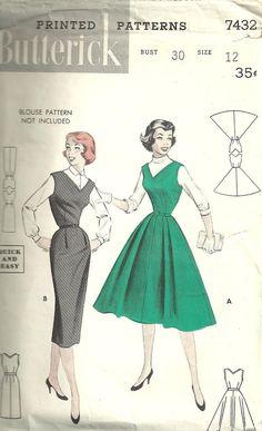 Butterick 7432 Vintage 50s Sewing Pattern Dress by studioGpatterns, $8.50