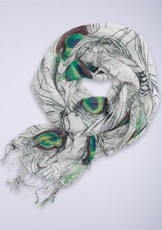 Peacock feather scarf