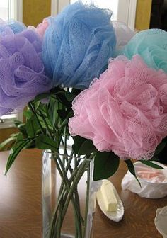 Loofa flowers for decorations for Spa Day  would make a good teacher gift