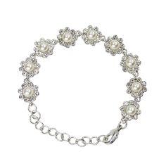Pearl and Crystal Flower Bracelet - Bridal Jewellery - Crystal Bridal Accessories