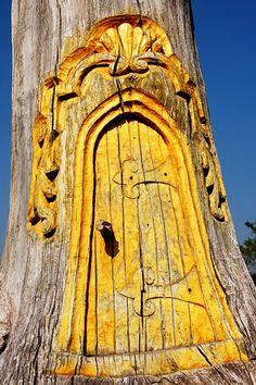 carved magical tree door...