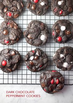 Dark Chocolate Peppermint Cookies | via Bakerella