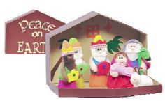 """Soft Kiddie Nativity   in """"Peace on Earth"""" stable shaped box. Perfect size to take with you on-the-go for quiet playtime and the fold-out stable box makes for convenient storage! 4"""" tall figures. (Item #33568) $19.95  NOW $11.97  While Supplies Last"""