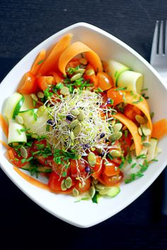 LIVER CIRRHOSIS DIET FOODS - Raw Carrot and Zucchini Linguini Salad. Liver detox raw food diet recipes for reversing liver disease including fatty liver, liver fibrosis & cirrhosis of the liver. The #1 natural treatment for curing cirrhosis of the liver is the advanced LIVER FLUSH protocol.  https://www.youtube.com/watch?v=EC9ewx7LsGw I LIVER YOU