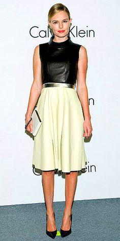 calvin klein, celebrity style, fashion, circle skirts, dress, kate bosworth, red carpet, katebosworth, leather
