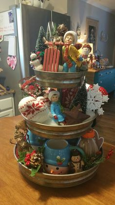 3 Tiered Tray vintage Chistmas <3