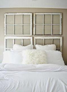 window panes headboard - A New Headboard by Bedtime: 12 Unusual & Affordable DIY Headboard Ideas