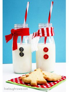 Make snack time a little more fun with snowmen milk bottles