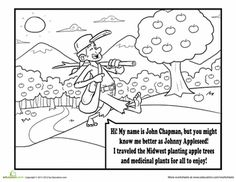 Worksheets: Johnny Appleseed Coloring Page