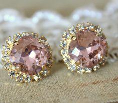 Crystal stud big vintage pink earring - 14k plated gold post earrings real swarovski rhinestones .. $38.00, via Etsy.