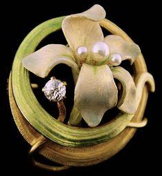 Krementz Art Nouveau 14K Enamel Flower Watch Pin Pendant, c.1900