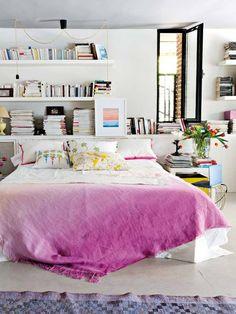 dreamy bedroom, interior, blanket, book, white bedrooms, shelv