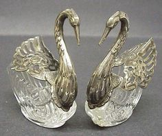 "Silver plated - pair - Salt Cellars - Each stands 3 1/4"" high and about 3 1/4"" long x 1 1/2"" wide, Excellent condition, Byer pays for shipping plus insurance, Thanks"