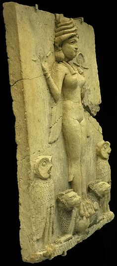 1800 and 1750 BCE. Mesopotamian terracotta plaque in high relief  of a winged, nude goddess-like figure with bird's talons, flanked by owls, and perched upon supine lions. Originates from S. Iraq, the exact find-site unknown, from the Isin-Larsa or Old-Babylonian period. [Known as The Burney Relief or the Queen of the Night; whether she is Lilitu, Inanna/Ishtar, or Ereshkigal, is under debate.]