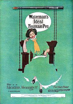 Waterman's Ideal Fountain Pen ad, #vintage #office #Edwardian #ads