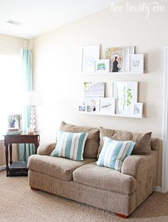 Living Room Picture Ledges {Picture Ledge} #peg