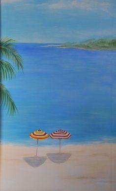 beach art, beaches, umbrellas, beach decor, murals, at the beach, art umbrella, paints, 111111great beach