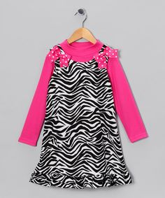 Take a look at this Black & Fuchsia Zebra Corduroy Jumper & Tee - Toddler & Girls by Rare Editions on #zulily today!