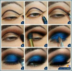 Makeup tutorial. I have these exact colors thanks to Ben NYE and Two Faced:) Love makeup tutorials, eye makeup, eyeshadow, eye colors, cobalt blue, dramatic eyes, eyemakeup, highlight, deep blue