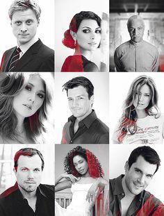 "Firefly cast. From top left corner: Alan Tudyk (Hoban ""Wash"" Washburne), Morena Baccarin (Inara Serra), Ron Glass (Shepherd Book), Jewel Staite (Kaywinnet ""Kaylee"" Fry), Nathan Fillion (Captain Malcolm ""Mal"" Reynolds), Summer Glau (River Tam), Adam Baldwin (Jayne Cobb), Gina Torres (Zoe Washburne), and Sean Maher (Dr. Simon Tam)"
