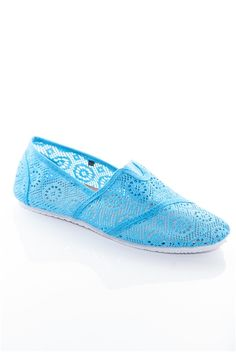 Elegant Twist #Crochet Slip On Flats - Turquoise