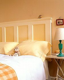 A solid old door, refinished and hung sideways, becomes a perfect -- and perfectly inexpensive -- headboard for a bed. Check yard sales and flea markets for doors, and modify the steps below if you find one with a different design. A strip of crown molding along the top edge offers a neat finish and a handy spot for a small alarm clock.    Headboard How-To
