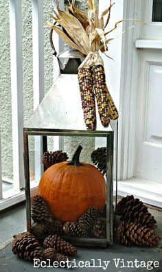 pine cones and pumpkins in lanterns