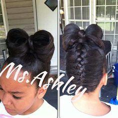 So cute braid and a bow!